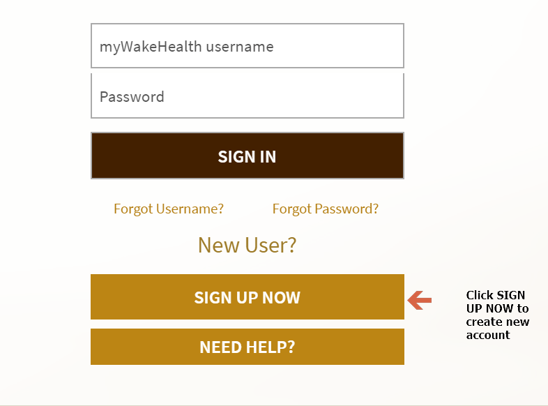 mywakehealth sign up Page