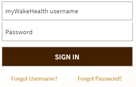 mywakehealth Sign in process