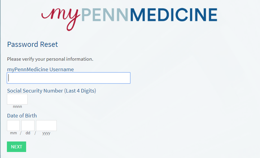 MyPennMedicine Password reset form