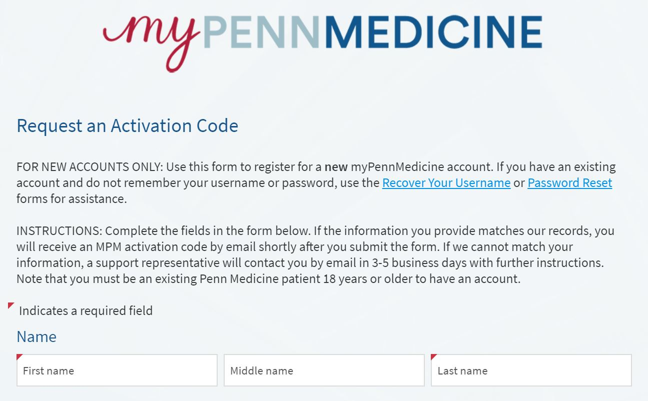 MyPennMedicine Activation code form part 1