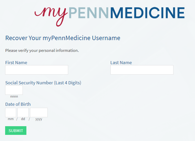 MyPennMedicine forgot username