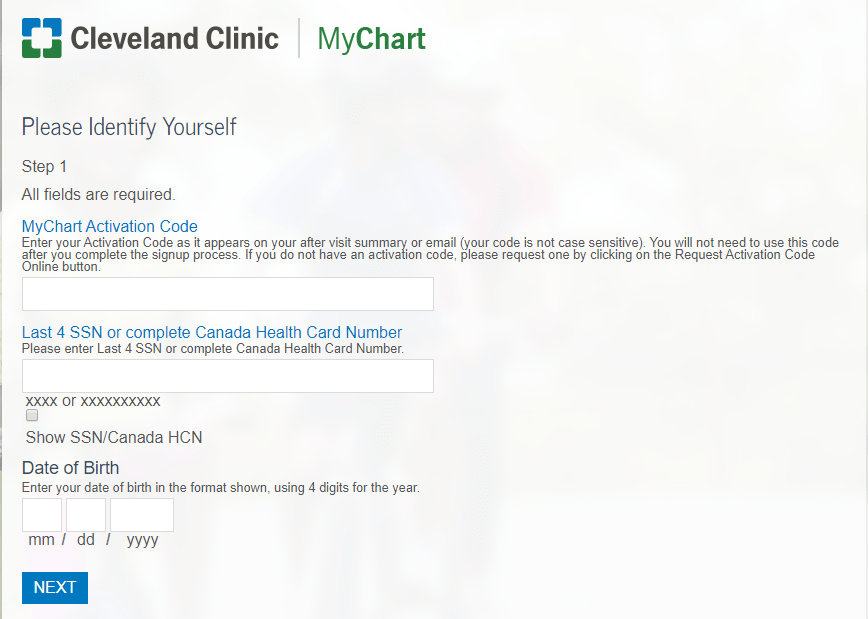 Cleveland clinic Sign up process
