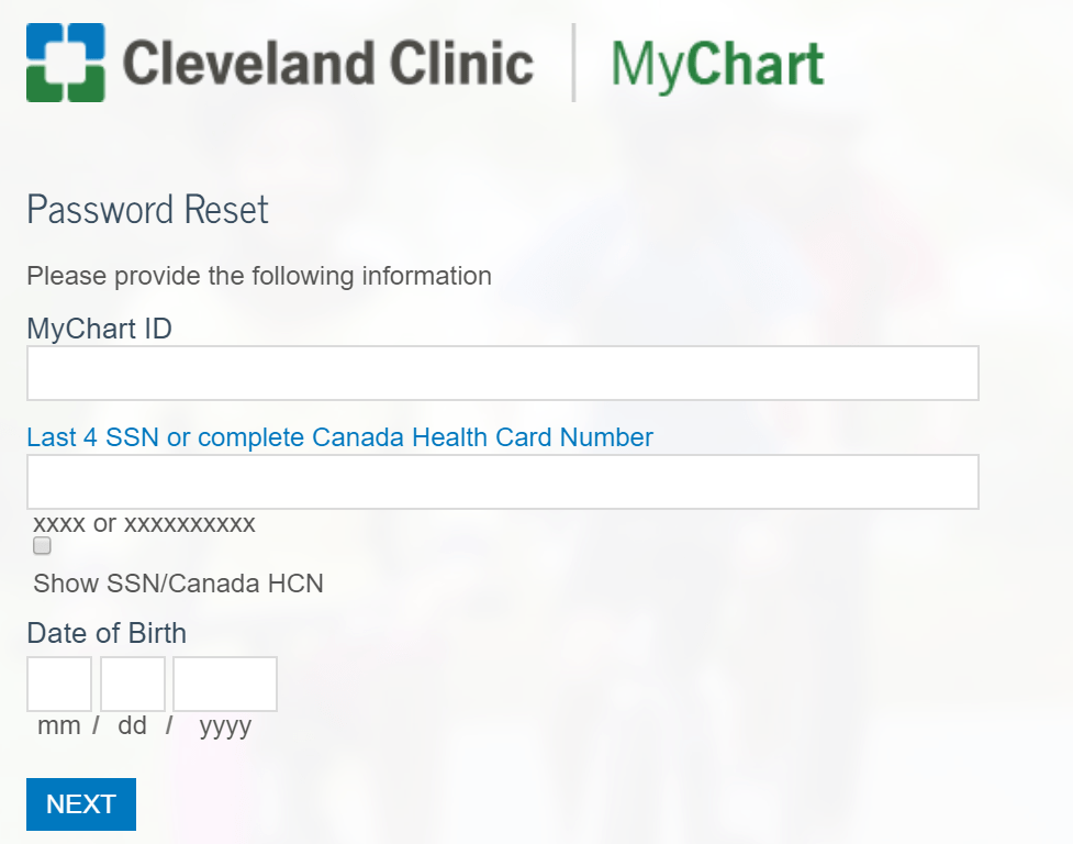 Cleveland clinic forgot user id