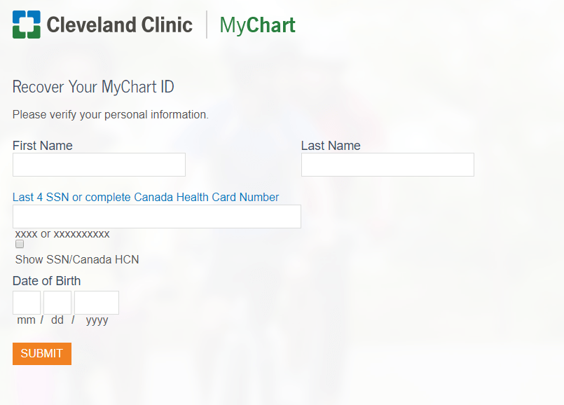 cleveland clinic forgot id form