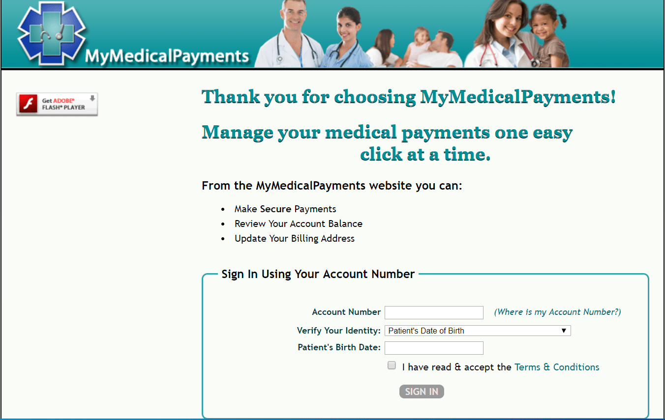 Mymedicalpayments.com Sign in page
