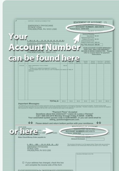 Mymedicalpayments account number