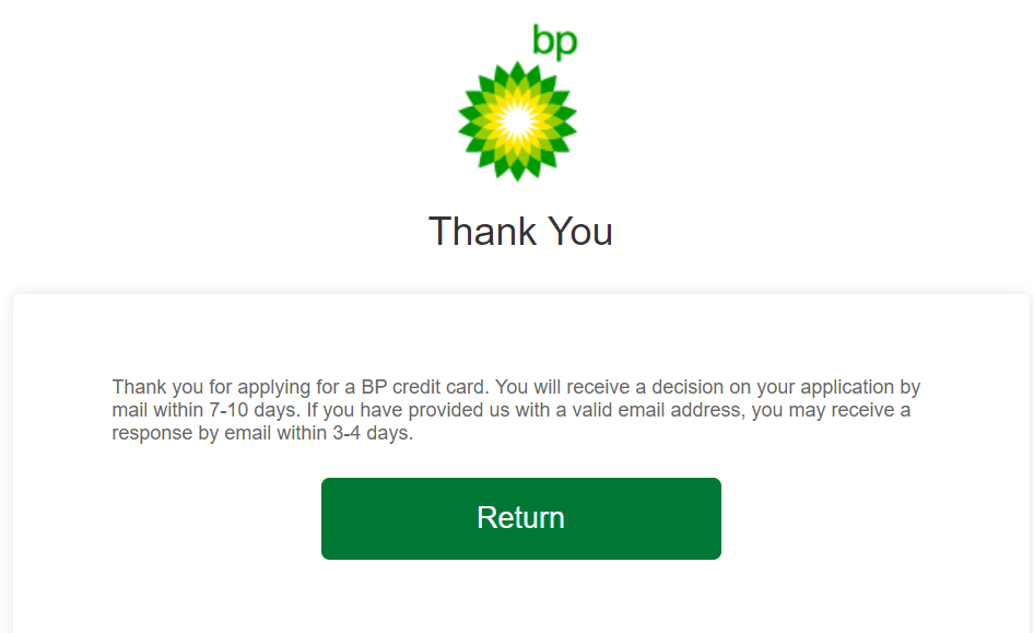 my bp credit card application complication