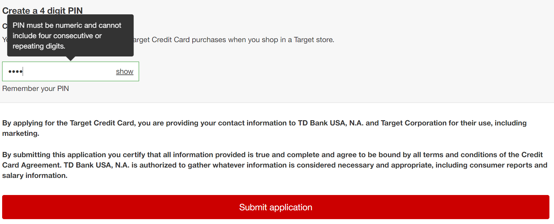 Target red credit card application final submission